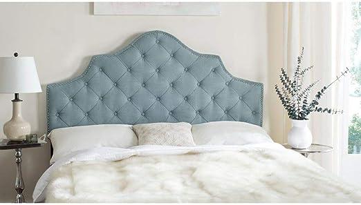 Amazon Com Safavieh Arebelle Sky Blue Upholstered Tufted Headboard Silver Nailhead Full