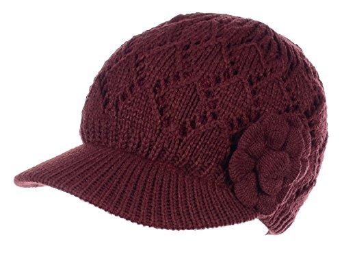 BYOS Womens Winter Warm Fleece Lined Knitted Beret Beanie Hat Cap w/Visor Peak (Diamond Pattern w/Flower Burgundy) (Knitted Beanie Hat Pattern)