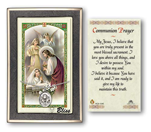 - Small First Communion Sterling Silver Chalice Medal with a Communion Prayer - Girl Prayer Card.
