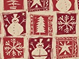 Pack of 1, Homespun Christmas 24'' x 417' Gift Wrap Half Ream Roll (Kraft) for Holiday, Party, Kids' Birthday & Special Occasion Packaging