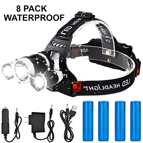 Led 3 Tikka Headlamp (Newest Version Brightest T6 LED Waterproof Headlamp 13000 Lumen Full 8 Pack Powerful Led Headlight + 2 (18650) Rechargeable Batteries + Wall Charger + USB Charger + Car Charger Perfect for Outdoor)