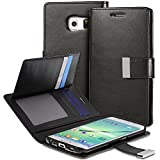 Galaxy S6 Edge Plus Wallet Case - VENA [vDiary] Slim Tri-Fold Leather Wallet Case with Stand Flip Cover for Samsung Galaxy S6 Edge+ (Black)