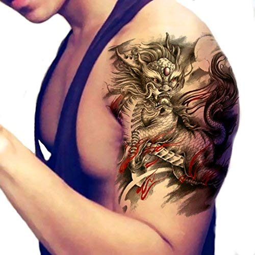 Bumatech Temporary Tattoos - Tattoo Stickers Fire Kirin Designs Body Sticker Waterproof Temporary Fake Tattooing - Tatoos Sleeves Tattoo Sleeve Tatoo Stickers Baby Eyes Adult Sticker Kirin - Fake Arm ()