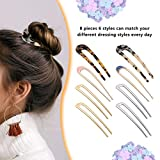 8 Pieces U-Shaped Hairpin Fork Sticks Tortoise
