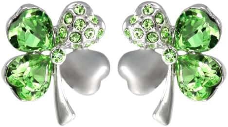Four Leaf Clover Heart Shaped Swarovski Elements Crystal Rhodium Plated Stud Earrings