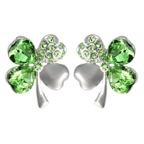 Dahlia Four Leaf Clover Stud Earrings with Swarovski Crystals, Rhodium Plated, Green