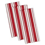 "DII Cotton Gourmet Stripe Dish Towels, 18 x 28"" Set of 3, Herringbone Absorbent Kitchen Dishtowels for Cleaning, Drying, Cooking, Baking-Tomato Red"