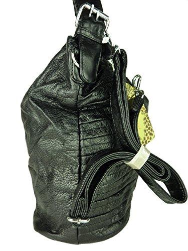 Shopper Susan, große Damen Tasche, Schultertasche in versch. Farben mit langen Trageriemen, ideal auch als Schultasche - A4 geeignet, 42x30x18cm (schwarz) schwarz