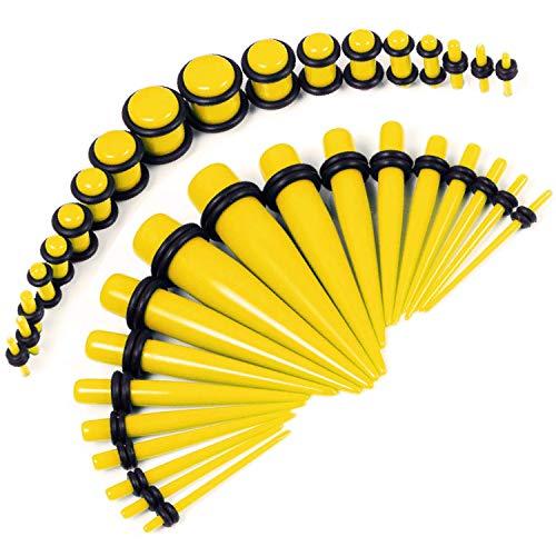 (BodyJ4You 36PC Gauges Kit Yellow Acrylic Taper Plug 14G-00G Ear Stretch O-Rings Body Piercing)