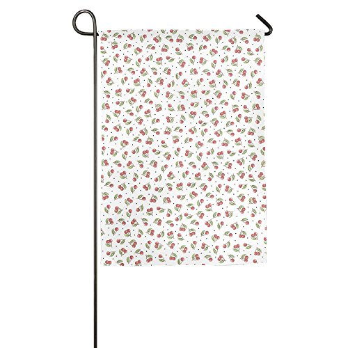 Garden Flag Cherry Pattern Indoor Outdoor House Decorative Garden Flag Polyester Flag Banner 1218inch - At Cherry Creek Shops