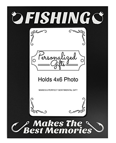 (ThisWear Fishing Frame Fishing Makes The Best Memories Black Steel Engraved 4x6 Portrait Picture Frame Black)