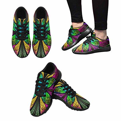 Scarpe Da Corsa Trail Running Da Donna Jogging Leggero Scarpe Da Ginnastica Da Corsa Atletico Simmetrico Fiore Multicolore In Vetro Colorato Stile Multi 1