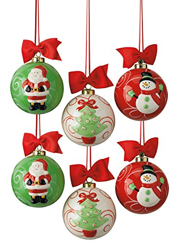 Ceramic Christmas Santa - DII Santa, Snowman, and Christmas Tree, Ceramic Christmas Ornaments For Tree Décor, Gift Exchange, Home Decorations, Mixed Set of 6