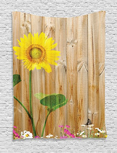 Ambesonne Sunflower Decor Collection, Sunflower Painting