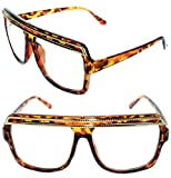 Flat Top SUNGLASSES HIP HOP VINTAGE BLACK or BROWN GOLD TOP GRANDMASTER STYLE RETRO Large (Brown Gold, Clear)
