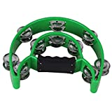 Yibuy 21 x 21 cm Green 40 Jingles Double Row Music Tambourine Hand Percussion for KTV Party
