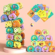 TEMI Elephant Balancing Stacking Blocks Board Game for Kids Jenga Game Alphabet Number Animals Learning Toys P