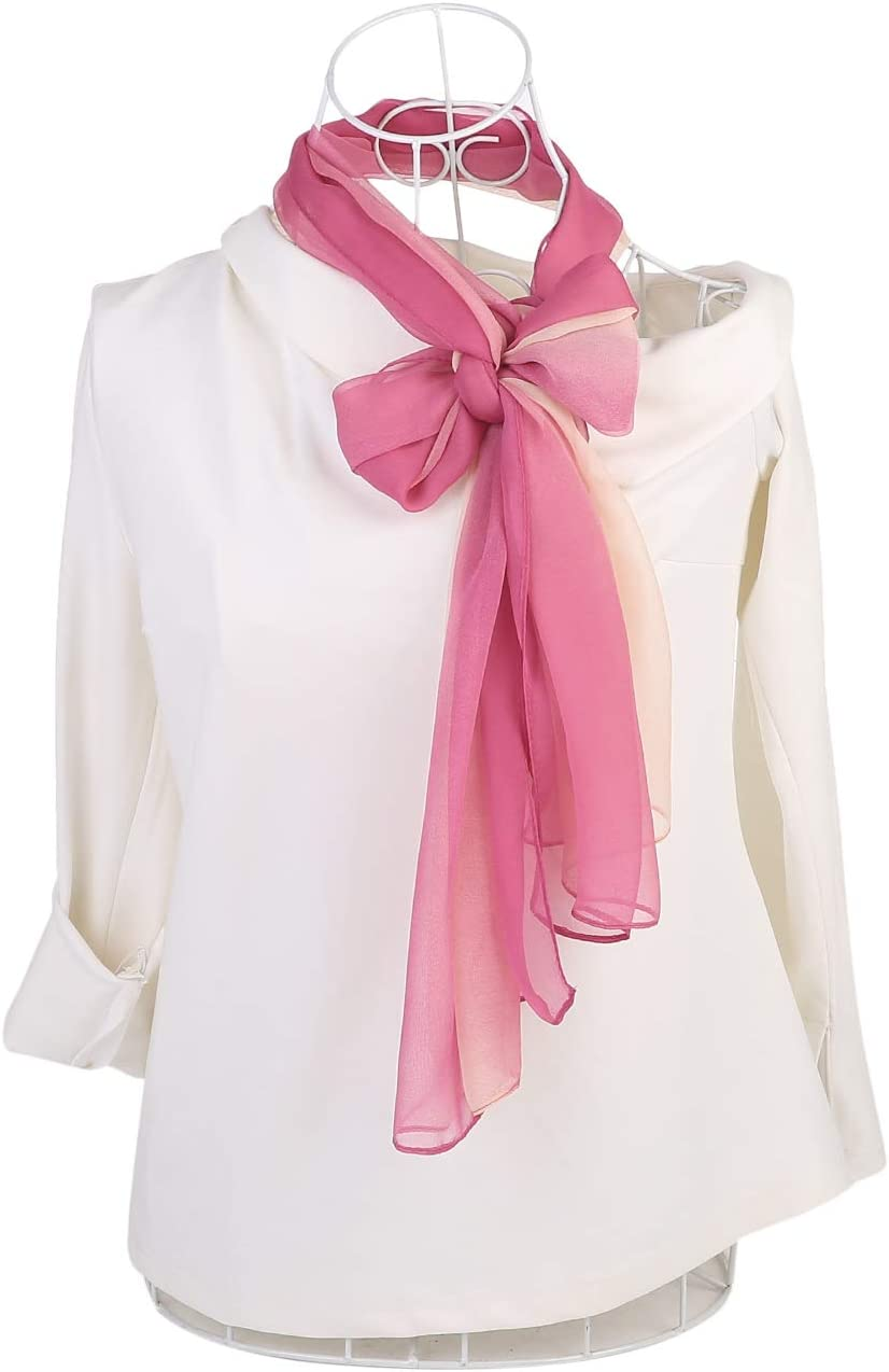 uxcell/® Long Chiffon Lightweight Scarf Gradient Color Scarf Spring Summer For Women Gray//Beige 63x19.6