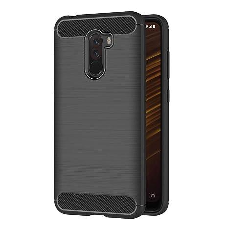 AICEK Funda Xiaomi Pocophone F1, Negro Silicona Fundas para Xiaomi Pocophone F1 Carcasa Xiaomi Pocophone F1 Fibra de Carbono Funda Case (6,18 ...