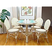 5 Pc Rattan Wicker Dining Set Round Table Glass Top+ 4 Denver Side Chairs. White Wash