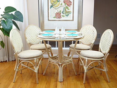 5 Pc Rattan Wicker Dining Set Round Table Glass Top+ 4 Denver Side Chairs. White (Round Glass Top Dinette)