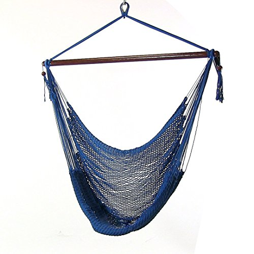 Sunnydaze Hanging Rope Hammock Chair Swing, Extra Large Caribbean, Blue - For Indoor or Outdoor Patio, Yard, Porch, and Bedroom by Sunnydaze Decor