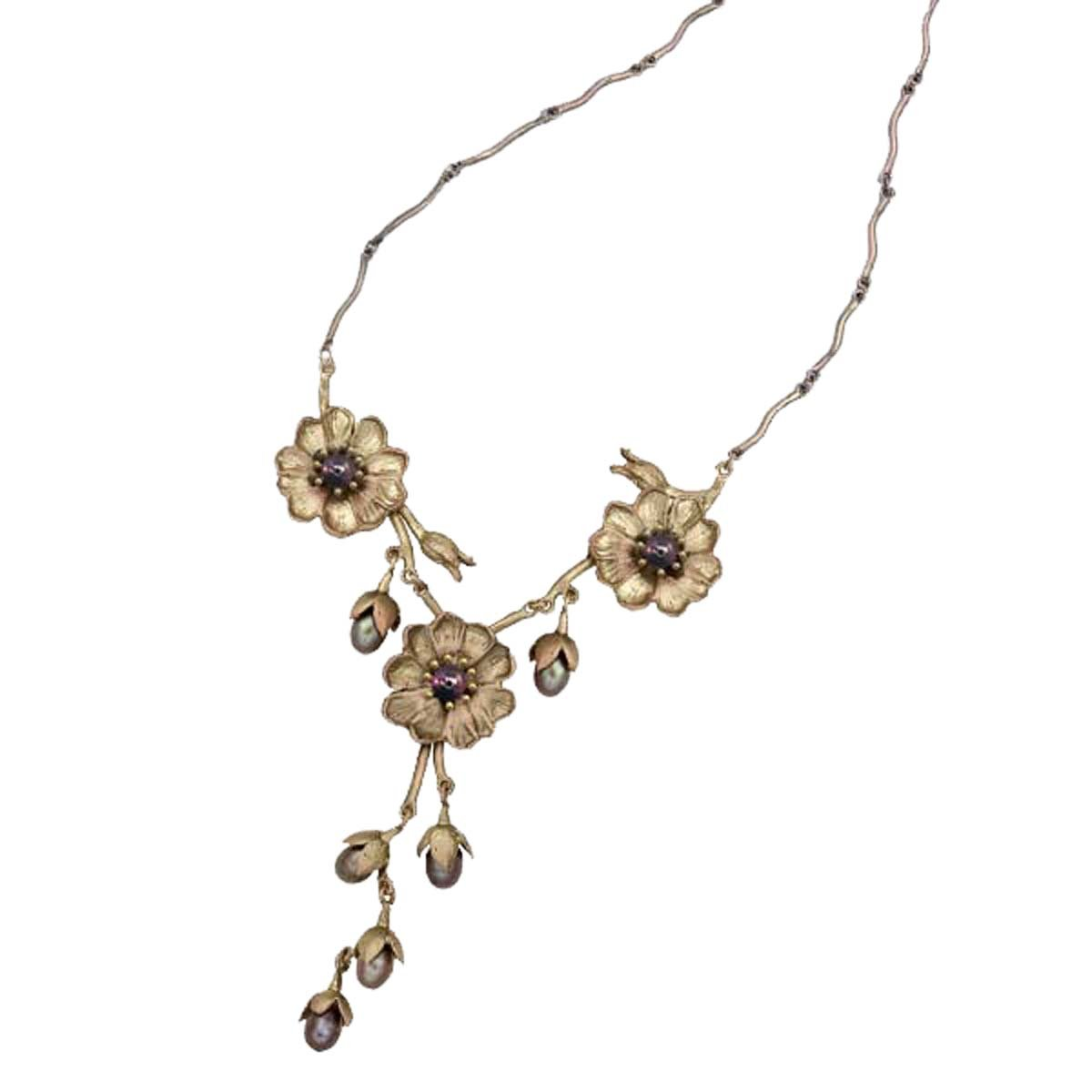 ''Cliff Maiden'' Three Flower Necklace By Michael Michaud for Silver Seasons…