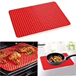 Non-Stick Silicone Baking Mat Heat-Resistant Pyramid Cooking Sheets Fat-reducing Cooking Mat 6 FOOD GRADE MATERIAL:Made of Eco-Friendly food-grade silicone. BPA-free, odorless, nontoxic, Non-stick. Temperature tolerance:-40℃ to 230℃(-40℉to 446℉) PERFECT KITCHEN MAT FOR HEALTHY COOKING: Allows food to cook evenly, bakes food light and crispy. EASY TO CLEAN, CONVENIENT TO USE:If you got tied of scrubing baking pans racks, please use this baking mat to make your life easier.Safe to use in dishwasher,Cleans Up Easy with just a little Soap and Water