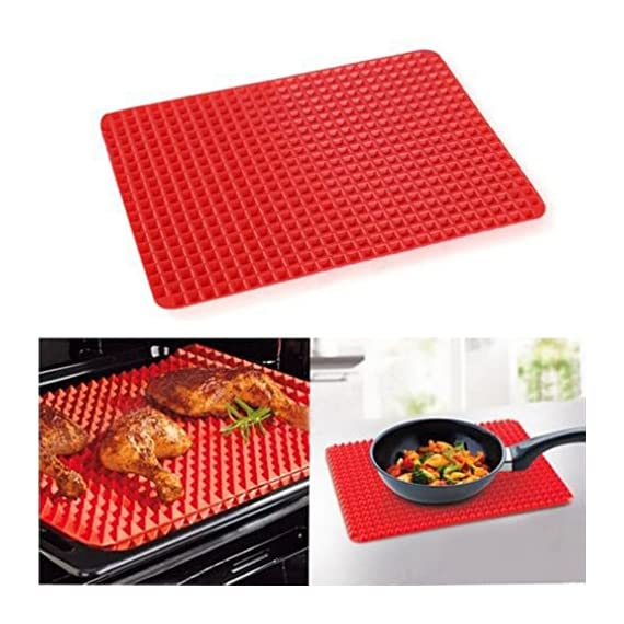 Non-Stick Silicone Baking Mat Heat-Resistant Pyramid Cooking Sheets Fat-reducing Cooking Mat 2 FOOD GRADE MATERIAL:Made of Eco-Friendly food-grade silicone. BPA-free, odorless, nontoxic, Non-stick. Temperature tolerance:-40℃ to 230℃(-40℉to 446℉) PERFECT KITCHEN MAT FOR HEALTHY COOKING: Allows food to cook evenly, bakes food light and crispy. EASY TO CLEAN, CONVENIENT TO USE:If you got tied of scrubing baking pans racks, please use this baking mat to make your life easier.Safe to use in dishwasher,Cleans Up Easy with just a little Soap and Water