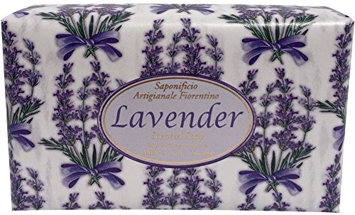 Artisanal Soap - Bar Soap by Saponificio Artigianale Fiorentino Italian Artisanal Natural Vegetable Based Bath Cleanser 8.81 Ounce Lavanda (Lavender)