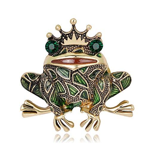 YYOGG Brooch Frog Prince with Diamond Pin Corsage ()