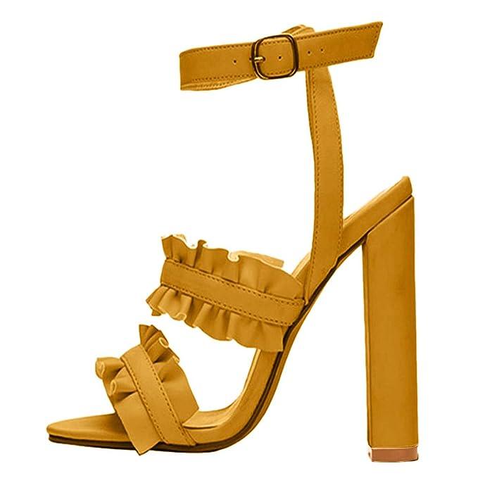 Briskorry-Zapatos de Mujer de Punta Abierta Mocasines de Pez Boca Hebilla Sandalias de Tacón Alto Antideslizantes Chancla Ocasionales Shoes: Amazon.es: Ropa ...