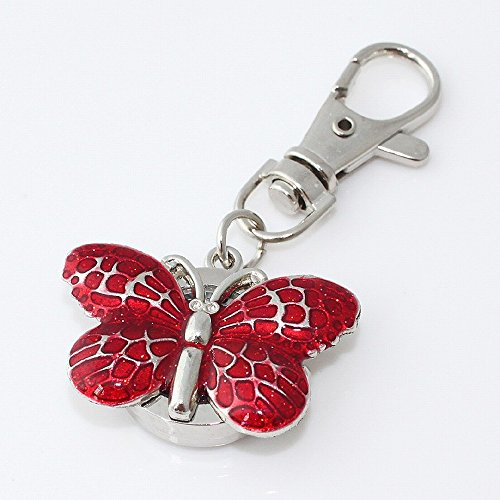 BUTTERFLY GLAZE RED QUARTZ POCKET WATCH PENDANT KEYCHAIN CHARM JEWELRY ()