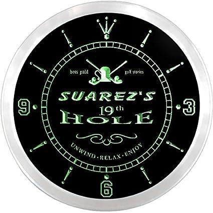 ncpi1812-g Suárez Golf 19th Hole Bar de cerveza de neón reloj de pared LED