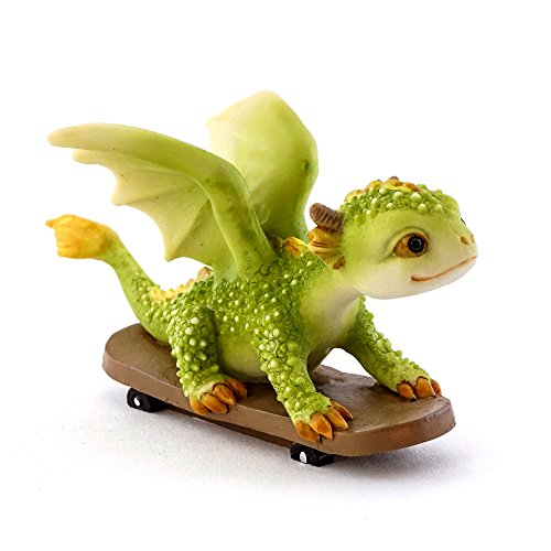 Skate Dragon - Top Collection Rex The Green Dragon Skateboarding 2.5-Inch Mini Collectible Figurine