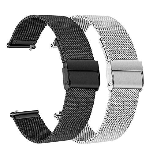 for Samsung Galaxy Watch 42mm / Gear Sport Bands, TRUMiRR 2 Pack 20mm Mesh Woven Stainless Steel Watchband Quick Release Strap Bracelet for Garmin Vivoactive 3 / TicWatch E (Garmin 205 Replacement Band)