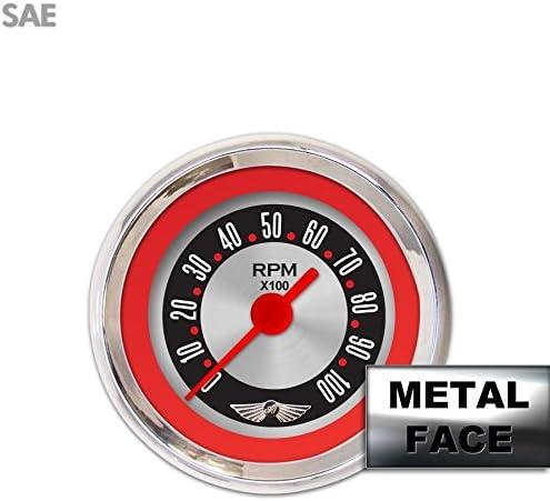 Aurora Instruments GAR15ZEAIABBE American Retro Rodder Red Tachometer Gauge with Emblem
