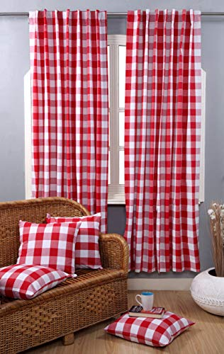 (Farmhouse Curtain in Gingham Plaid Check Fabric 50x84 Red & White, Cotton Curtains, 2 Panels Curtain,Tab Top Curtains, Room Darkening Drapes, Curtains for Bedroom, Curtains for Living Room, Set of)
