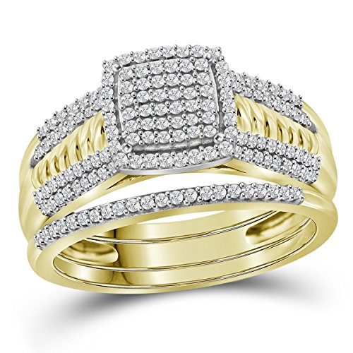Jewels By Lux 10kt Yellow Gold Womens Round Diamond Cluster Bridal Wedding Engagement Ring Band Set 3/8 Cttw Ring Size 7