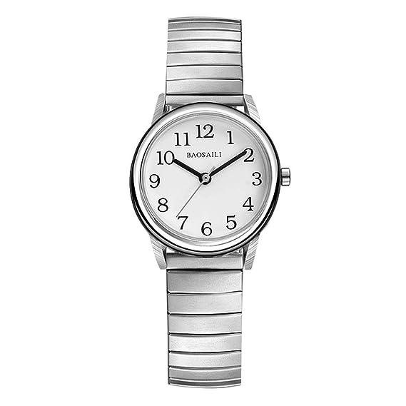 Relojes Pulsera Elástica Fácil de Usar Plata Analógico Relojes Hombre Acero Inoxidable Casual