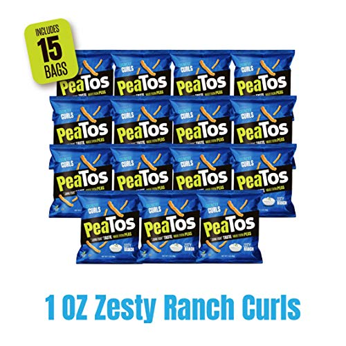Peatos Crunchy Puffs Snacks, Ranch, 1 Ounce (15 Count), Junk Food Taste, Made from Peas, Bold Flavors, 4g Protein and 3g Fiber, Pea Plant Protein Snack