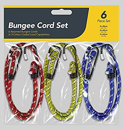 6 Pack Bungee UK Strap Cords Set-Best for Car Luggage Elasticated-Hooked