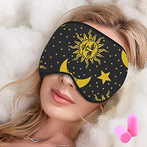 (Sangkoo Unisex 100% Cotton Sleep Mask, Moon and Sun Pattern Adjustable Head Strap Super Soft Sleeping Mask, Blackout Comfortable Eye Mask, Suitable for Travel Home 9 X 4.7(inch))