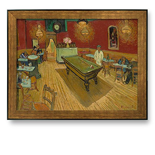 The Night Cafe by Vincent Van Gogh Framed Art Print Famous Painting Wall Decor Bronze and Black Frame