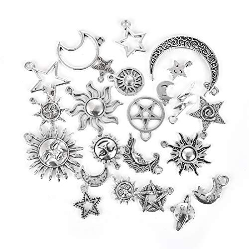 OBSEDE Celestial Sun Moon Star Charms Craft Supplies Mixed Antique Silver Pendants for Crafting Jewelry Findings Accessory 69pcs