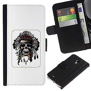 Be-Star la tarjeta de Crédito Slots PU Funda de cuero Monedero caso cubierta de piel Para Samsung Galaxy S4 Mini i9190 (NOT S4) ( Indian Poster Native American Skull )
