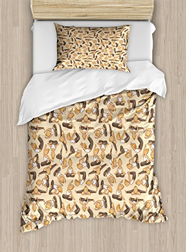 Ambesonne Yoga Duvet Cover Set Twin Size, Girl Doing Poses from Asian Meditation Tradition Cartoon Style Cute Comic, Decorative 2 Piece Bedding Set with 1 Pillow Sham, Cream Dark Taupe White by Ambesonne