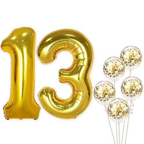 (Large, Gold Number 13 Balloon-Pack of 6 | 1 and 3 Mylar Gold Balloons, 40 Inch |Extra Pack of 5 Confetti Latex White and Gold Balloons,12 Inch | 13th Birthday)