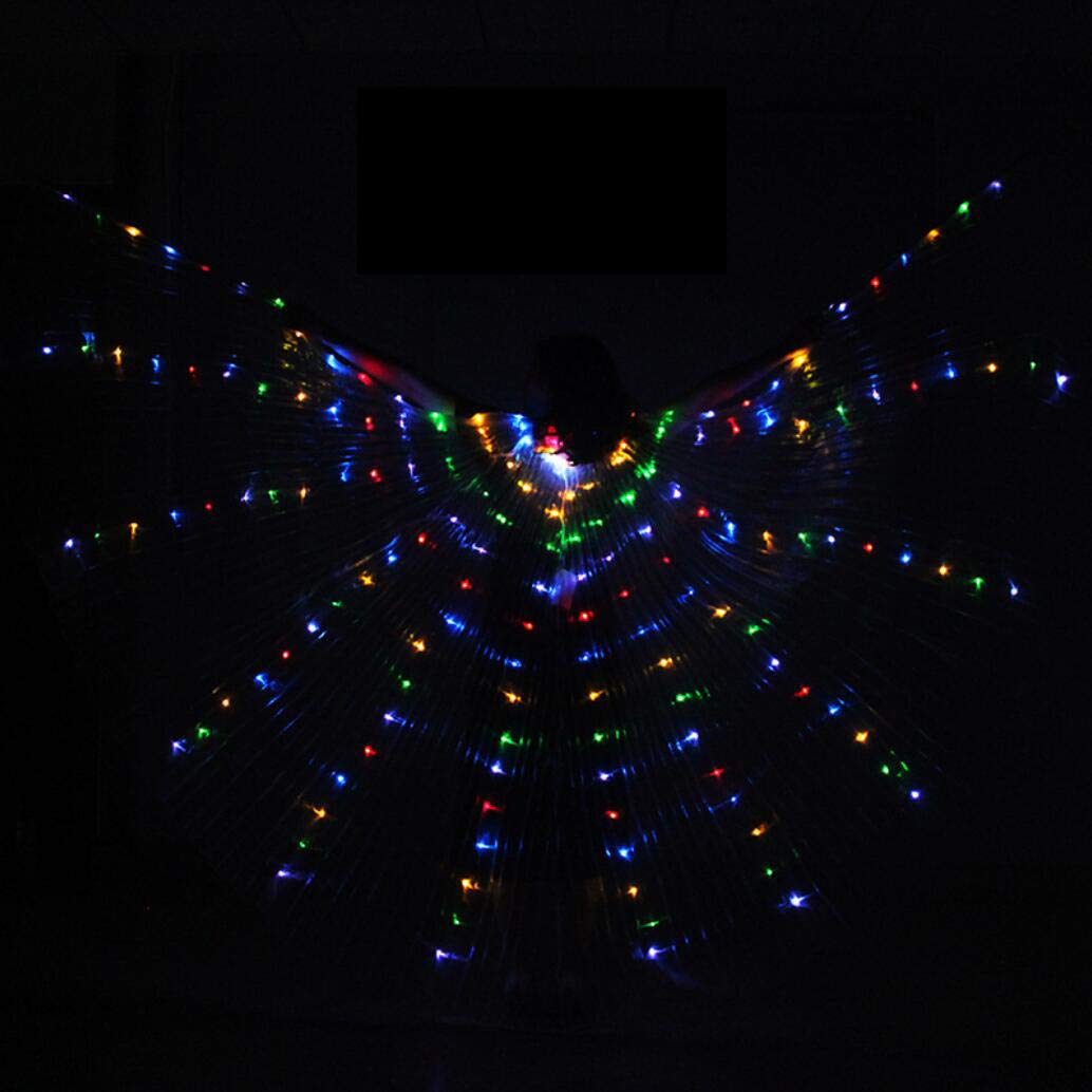colorsplit Dance Fairy Opening Belly Dance LED Isis Wings with Sticks RodsWings 216 LED Luminous Light Up Stage Performance Props