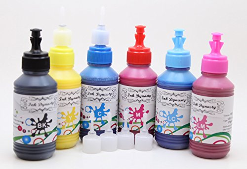 Ink Dynasty 600ML UV Resistant Water Resistant Pigment Ink Refill Kit for Refillable cartridge Epson T048 T078 T079 T080 T082 T098 CIS CISS - Black, Cyan, Magenta, Yellow, Light Magenta, (Light Magenta 1 Liter Bottle)